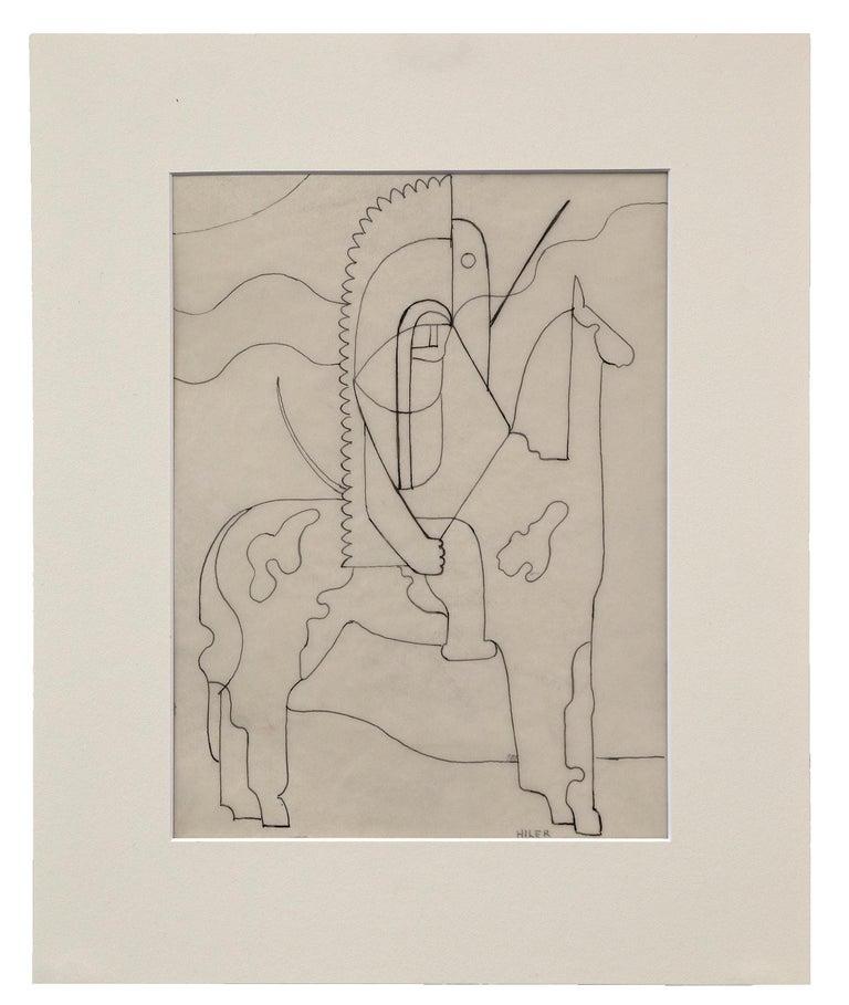 Hilaire Hiler Figurative Art - Pinto (Modernist Drawing, Native American on Horseback)