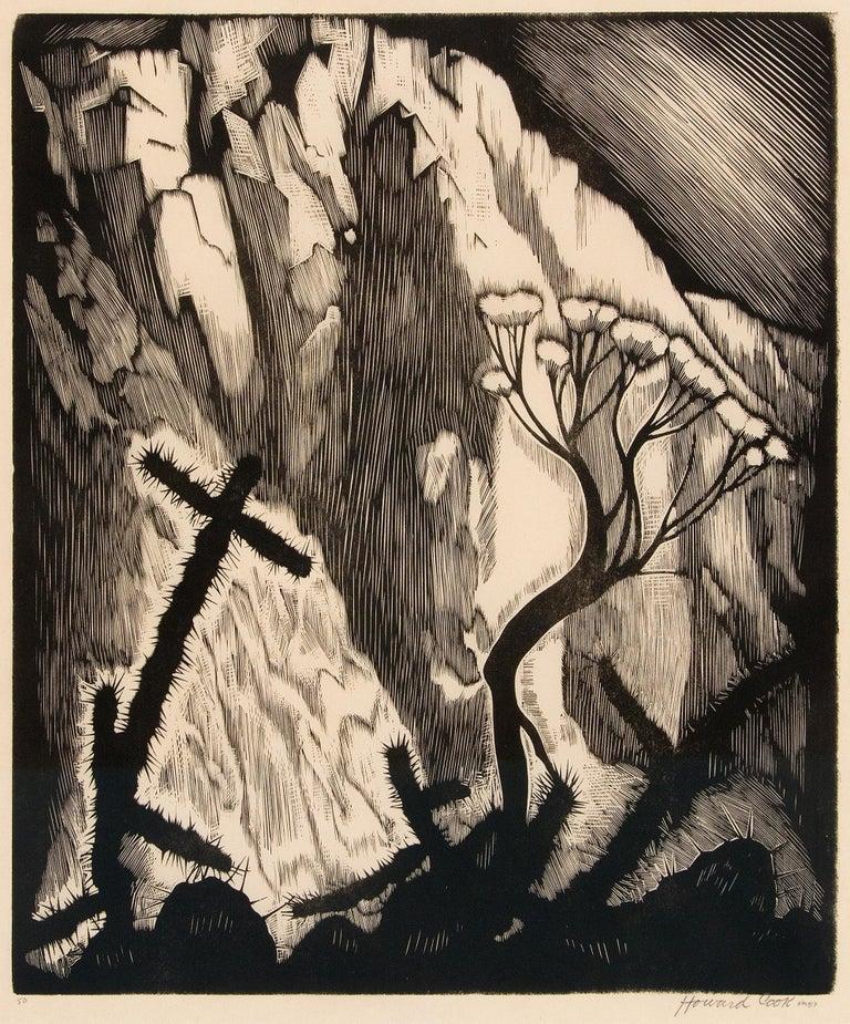 Howard Cook Landscape Print - Sage and Cactus (New Mexico Landscape)