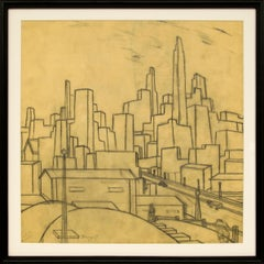 Untitled (Vintage 1930s Line Drawing of Kansas City)