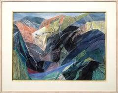 Through the Canyon, Semi-Abstract Colorado Mountain Landscape, Green Blue Orange