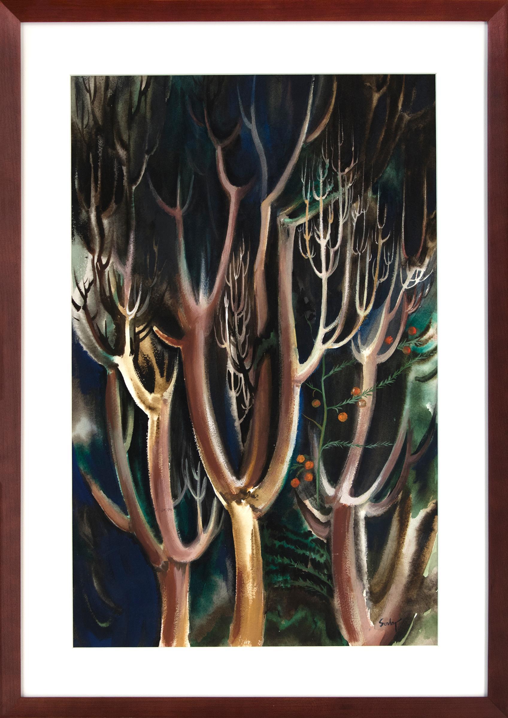 Modernist Trees, Vintage Landscape in Green, Blue, Brown, Orange, Black & White
