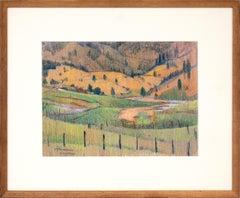 Colorado - Vintage Modernist Mountain Landscape: Green, Yellow, Brown &  Blue