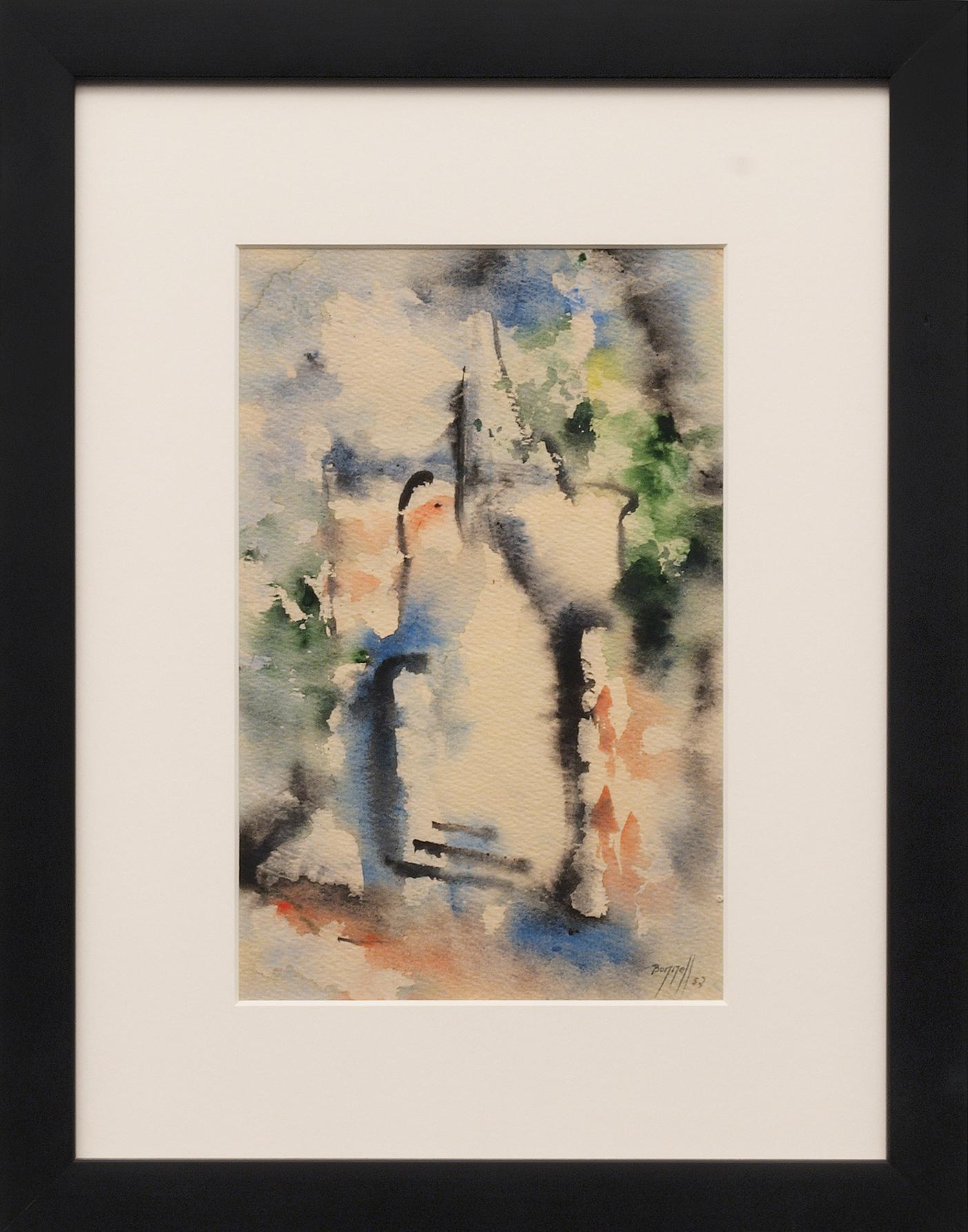 Abstract Expressionist Watercolor Composition of Blue, Black, Green, Orange