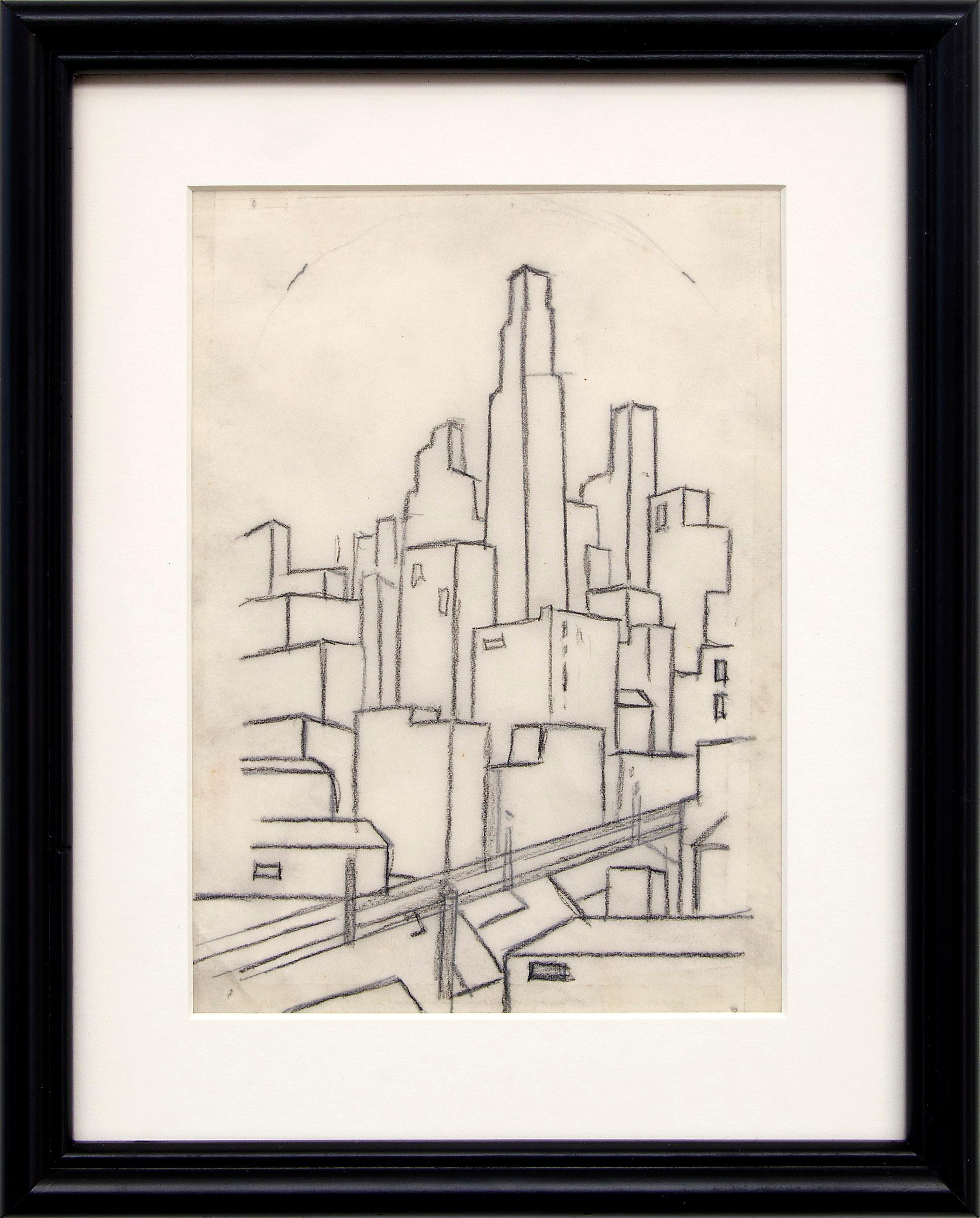 Kansas City Skyline, 1930s WPA Era Modernist Line Drawing, Black & White, Framed