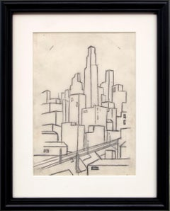 Kansas City Skyline, 1930s WPA Era Modernist Line Drawing, Black & White, Framed
