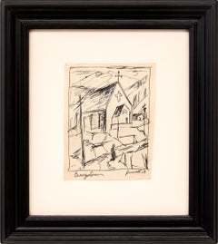 Georgetown (Church in the Mountains, Colorado), Modernist Landscape, Ink Drawing