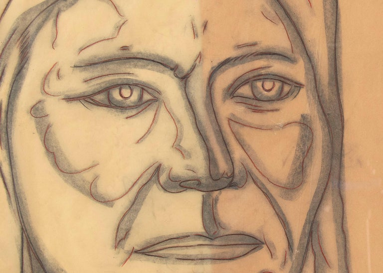 Original vintage 1977 drawing, modernist line drawing portrait of