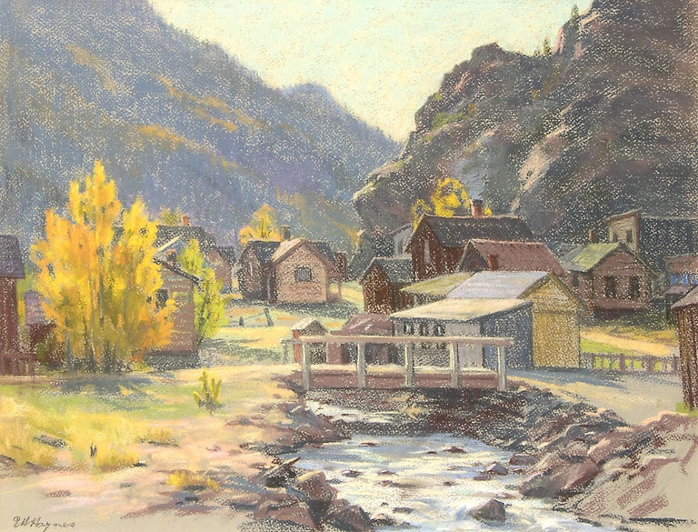 Silver Plume, Colorado, Mountain Landscape with River, Houses & Aspens, Autumn - Art by Elsie Haddon Haynes