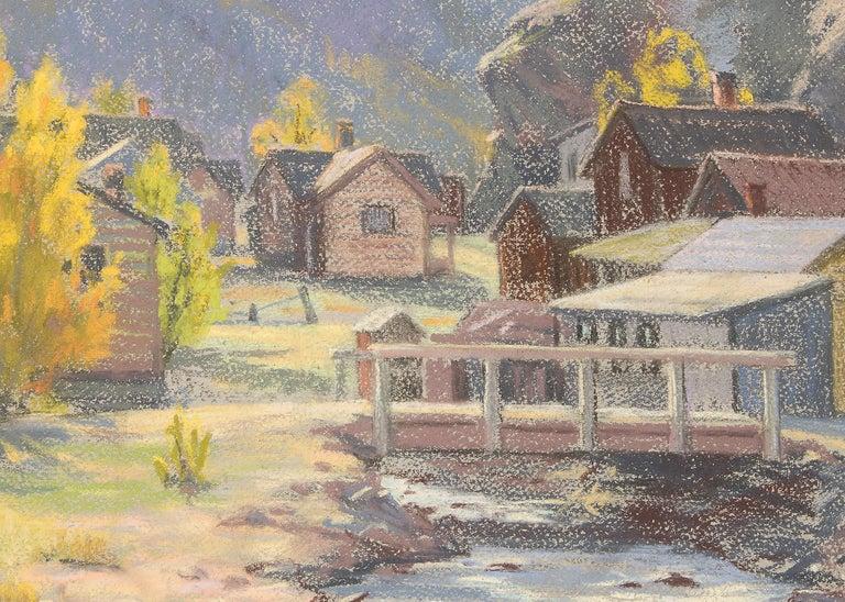 Silver Plume, Colorado, Mountain Landscape with River, Houses & Aspens, Autumn - Beige Landscape Art by Elsie Haddon Haynes