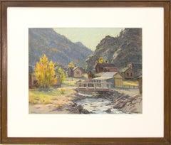 Silver Plume, Colorado, Mountain Landscape with River, Houses & Aspens, Autumn