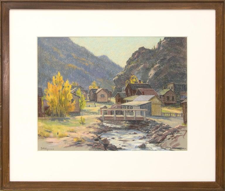 Elsie Haddon Haynes Landscape Art - Silver Plume, Colorado, Mountain Landscape with River, Houses & Aspens, Autumn