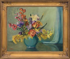 Still Life with Vase of Flowers, Yellow, Violet, Blue, Orange, Pink, Green, Red
