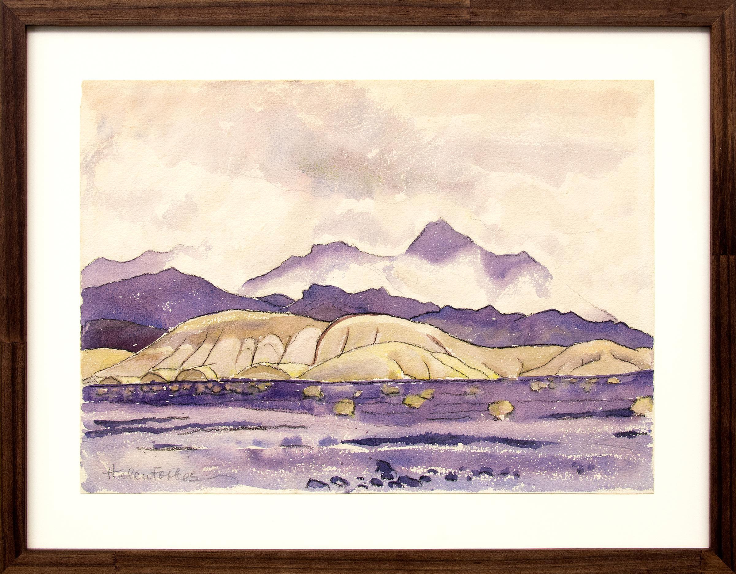 Clouds in the Desert, California Desert Mountain Landscape, Purple, Green, White