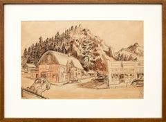 Estes Park (Colorado), Main Street Shops, Buildings, Brown, Green, Orange, Ivory