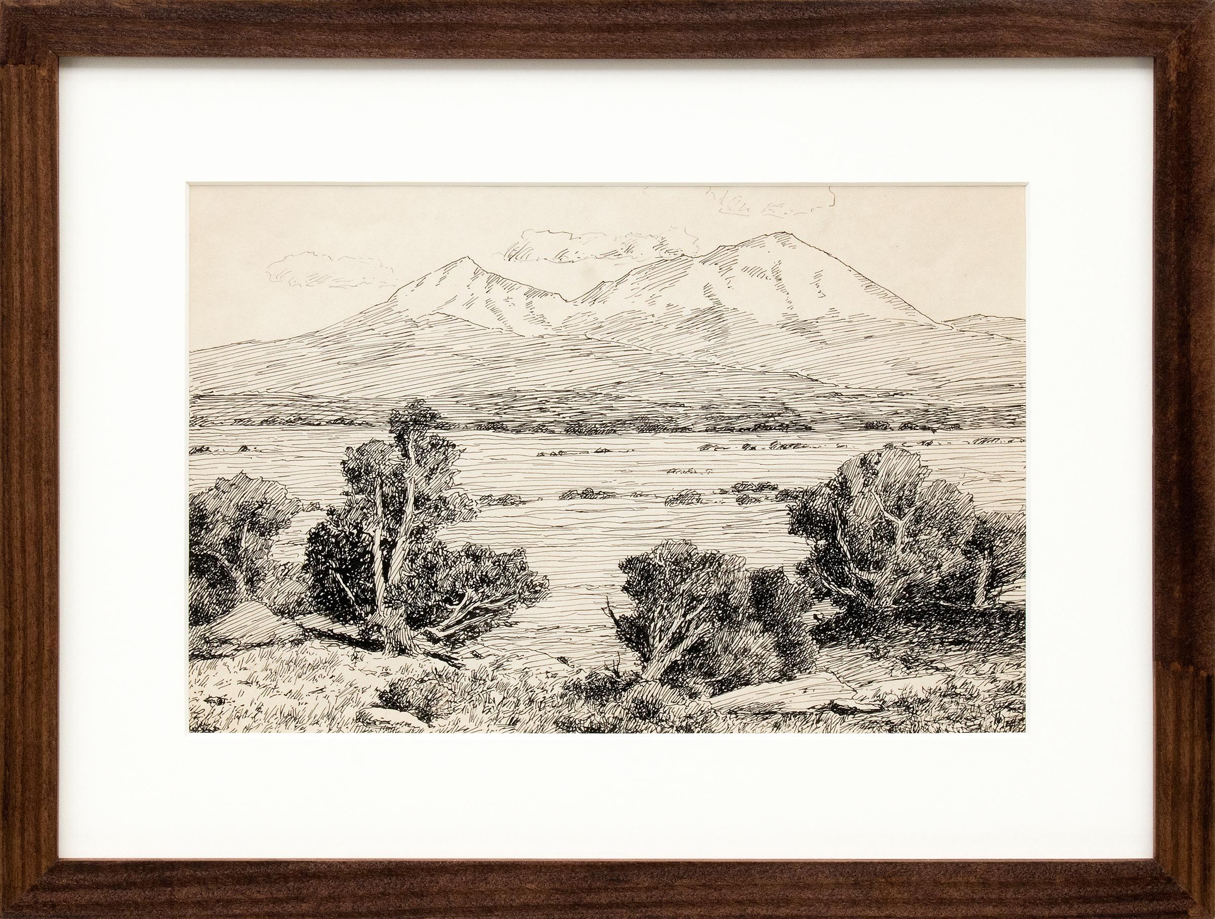 Spanish Peaks, Vintage Colorado Mountain Landscape, Trees, Valley, Black & White