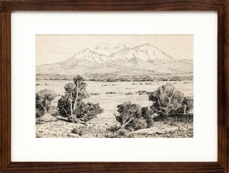 Charles Partridge Adams Landscape Art - Spanish Peaks, Vintage Colorado Mountain Landscape, Trees, Valley, Black & White