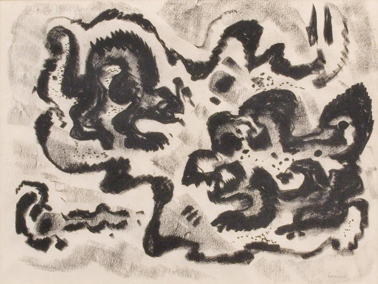 Emil Bisttram Abstract Drawing - Untitled (Abstract Calligraphic Composition)