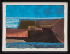 Untitled (Abstract Painting in Shades of Blue, Brown, Reddish Pink and Yellow)