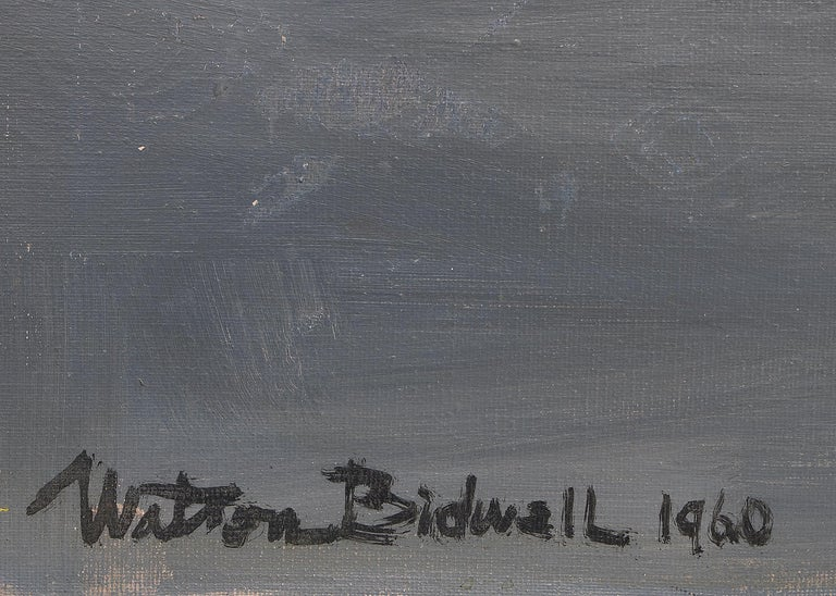 Original mid-century modern, vintage 1960 abstract oil painting by Watson Bidwell (1904-1964). Framed dimensions measure 37 ⅞ x 52 x 2 ¼. Image size measures 36 ¼ x 50 inches.  A native of Kansas, Watson Bidwell graduated with a BFA from the