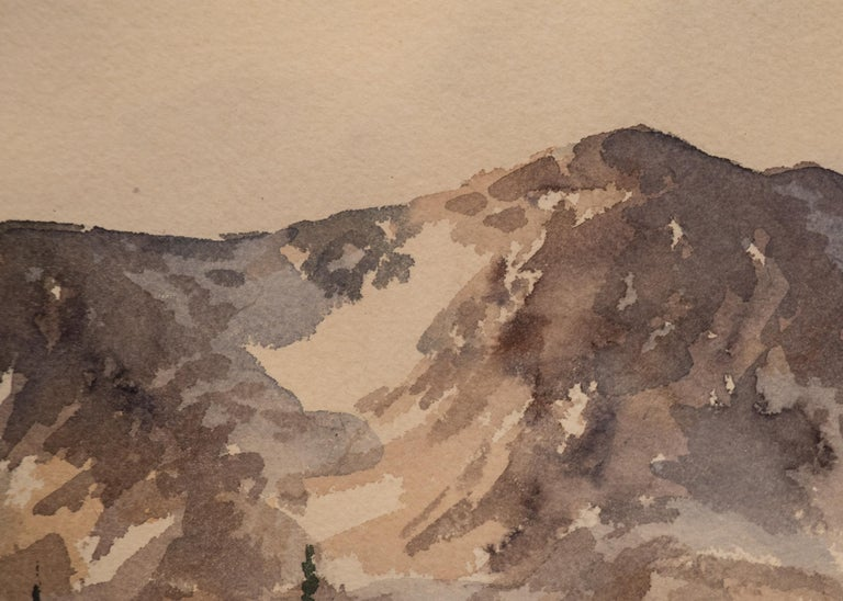 An original watercolor painting by Herbert Thomson of a landscape overlooking Moraine Park, Rocky Mountain National Park, located near Estes Park, Colorado. Presented in a vintage frame, outer dimensions measure 27 ¼ x 33 ¼ x 1 ¼ inches. Image size