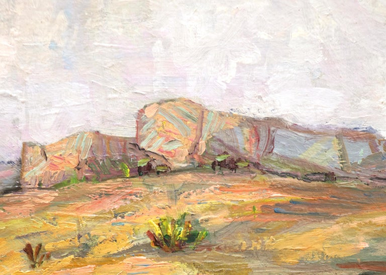 Untitled (Colorado Landscape with Buttes, Prairie and Sky) - Gray Landscape Painting by Charles Bunnell