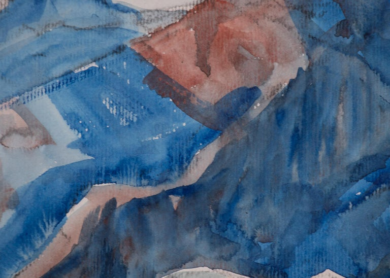 Elmer Stanhope (1907-1956) California Plein-Air style watercolor painting of a Mountain Landscape (likely California), the signed and framed modernist painting of a desert landscape with mountains with predominant colors of blue, green, brown, tan