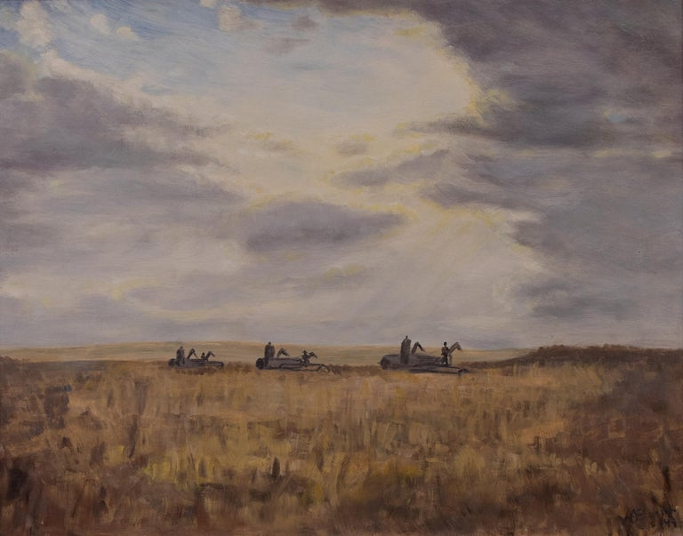 Modern Monsters (Harvesting Wheat, Colorado) - Painting by Anna Essick