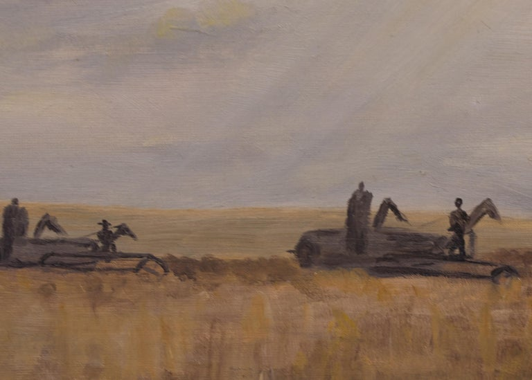 Modern Monsters (Harvesting Wheat, Colorado) - Black Figurative Painting by Anna Essick