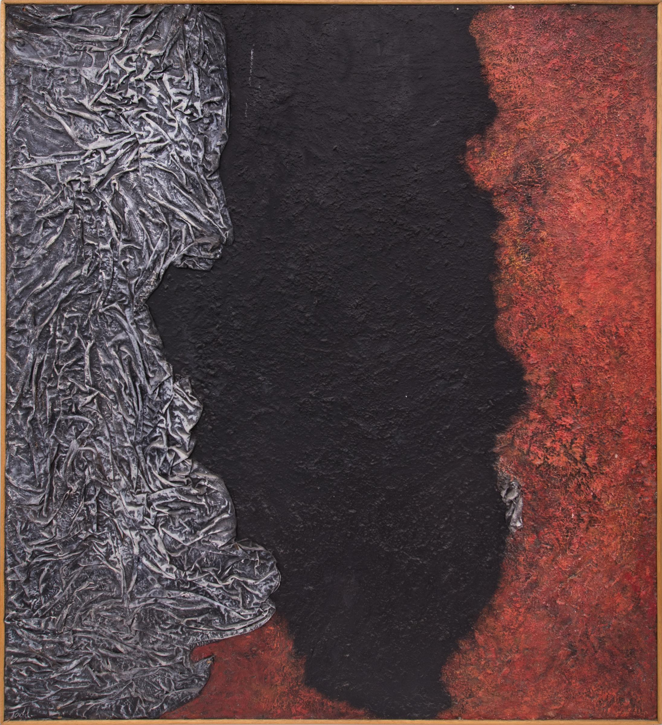 Evolution of the Gods (Abstract Painting in Red, Black, Gray & White)