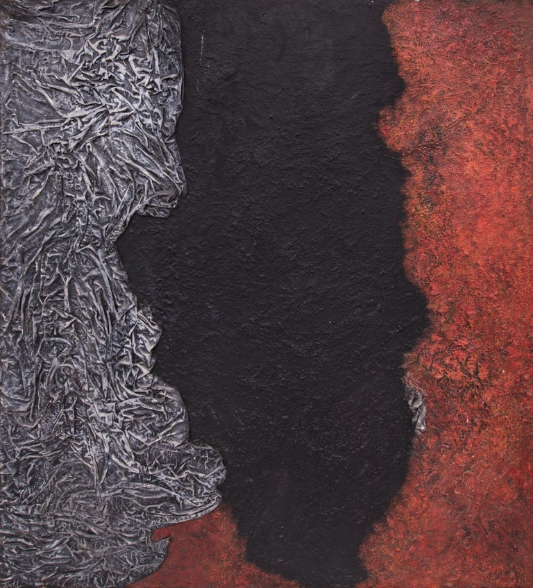 Evolution of the Gods (Abstract Painting in Red, Black, Gray & White) For Sale 1