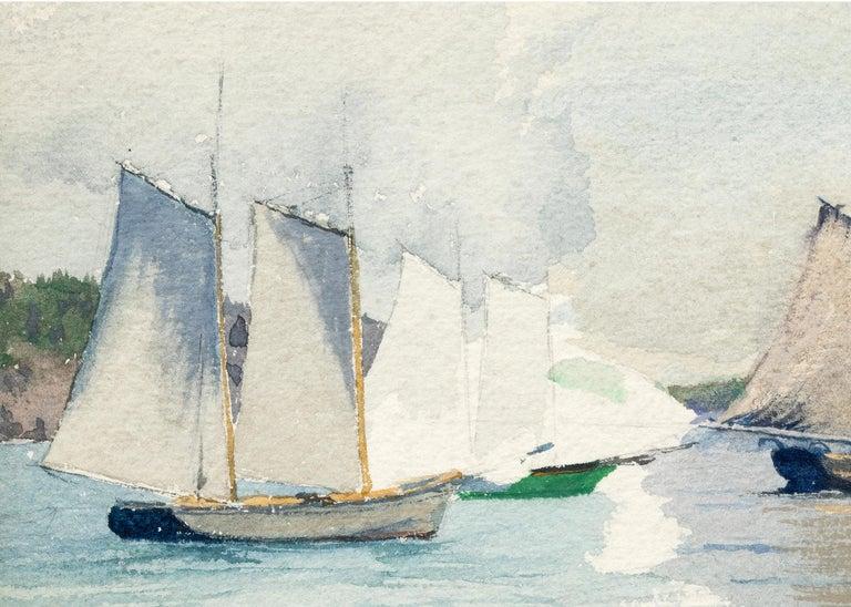 Sailboats, Marine Coastal Painting, California Seascape, White, Blue, Green Gray For Sale 1
