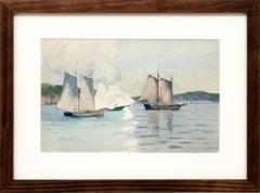 Sailboats, Marine Coastal Painting, California Seascape, White, Blue, Green Gray