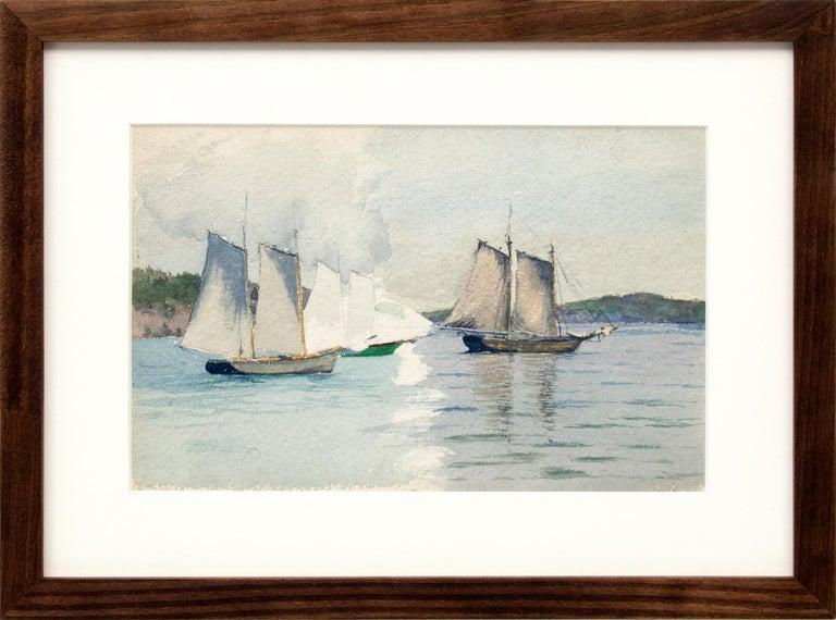 Charles Partridge Adams Landscape Painting - Sailboats, Marine Coastal Painting, California Seascape, White, Blue, Green Gray