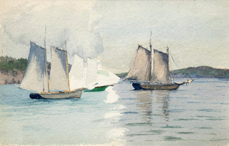 Charles Partridge Adams (1858-1942), vintage marine painting of sailboats, probably off the coast of California, circa 1920. Painted in soft colors of white, blue, green and gray. Watercolor on paper, attributed, copy of a letter of authenticity