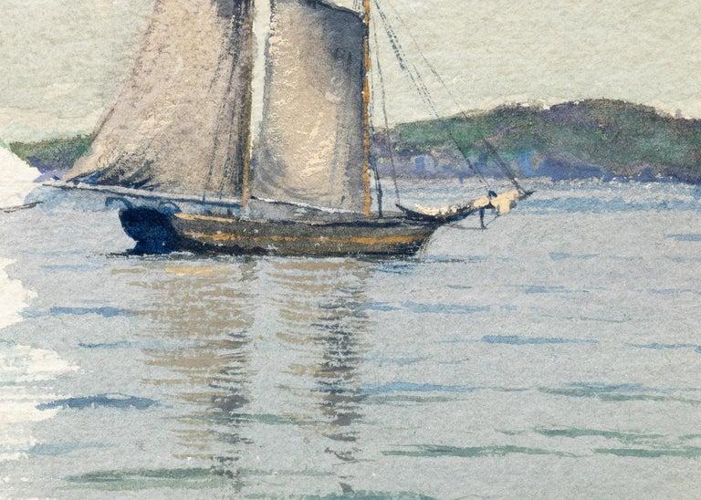 Sailboats, Marine Coastal Painting, California Seascape, White, Blue, Green Gray For Sale 4