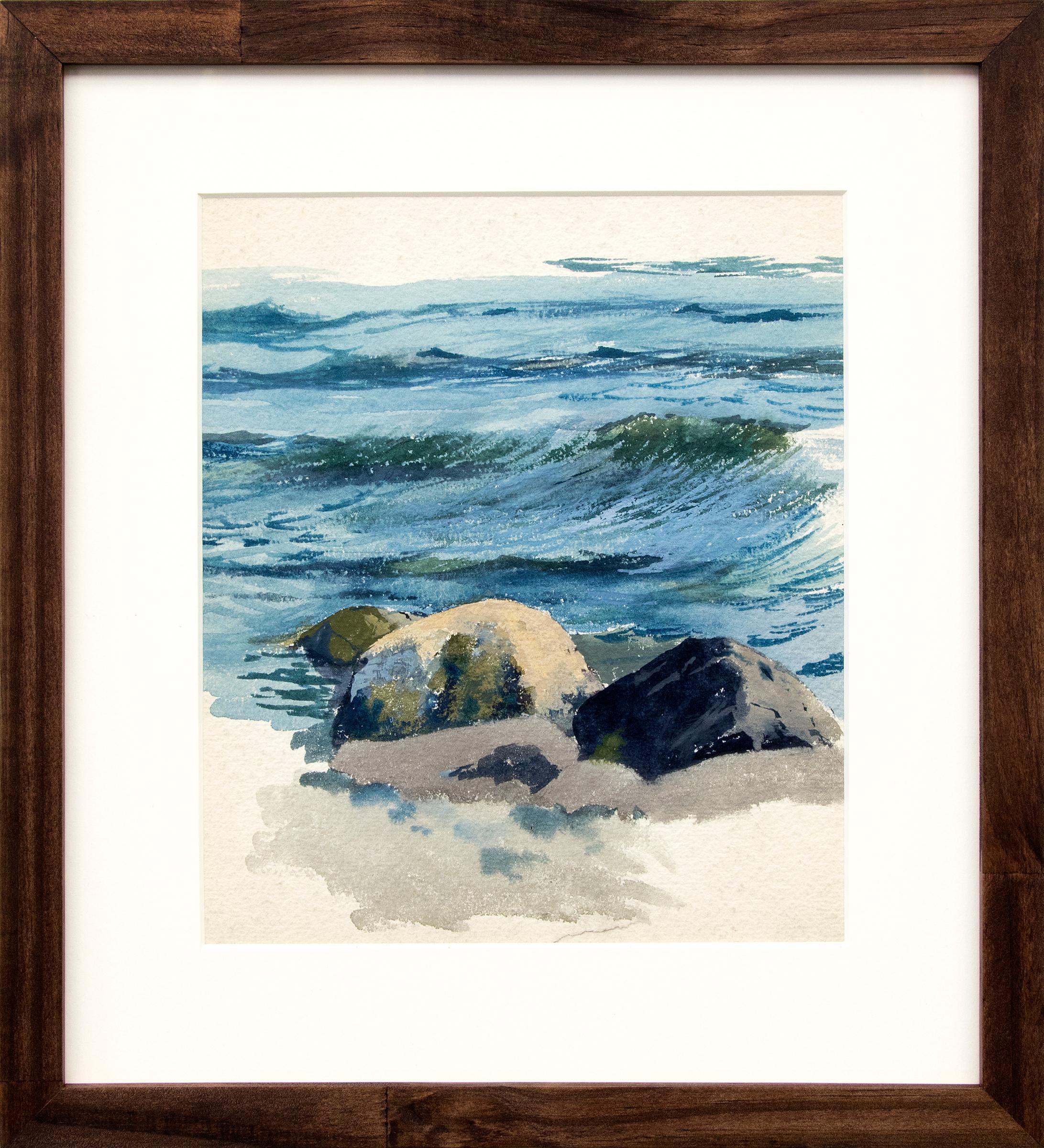 Waves and Rocks, California Coast, Vintage Circa 1920 Seascape,  Blue Gray Green