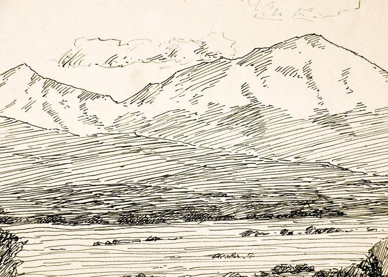 Spanish Peaks, Vintage Colorado Mountain Landscape, Trees, Valley, Black & White - American Impressionist Art by Charles Partridge Adams