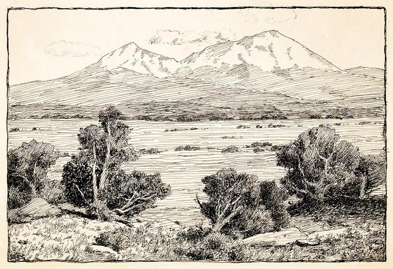 Spanish Peaks, Vintage Colorado Mountain Landscape, Trees, Valley, Black & White - Art by Charles Partridge Adams