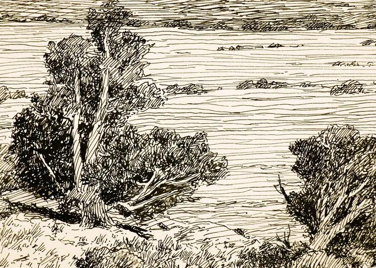Spanish Peaks, Vintage Colorado Mountain Landscape, Trees, Valley, Black & White - Beige Landscape Art by Charles Partridge Adams