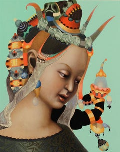 Woman #11, Contemporary Realism, Portrait, Jeweled Headdress
