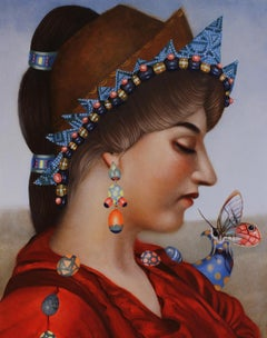Woman #16, Contemporary Realism, Portrait, Jewels, Butterfly