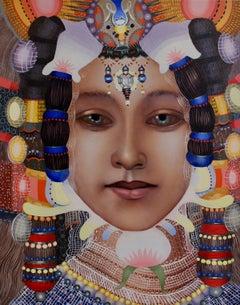 Woman #18, Contemporary Realism, Portrait, Jeweled Headdress