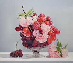ALLURE, Red and Pink Flowers on Table, Hyper-Realist, Still-Life