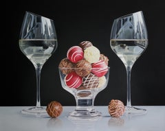 UNTIL TWILIGHT, still life, photo-realism, chocolate truffles, wine glasses
