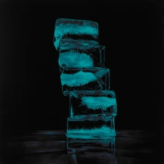 HOW FRAGILE WE ARE, SOMEPLACE ELSE, ice cubes, illuminated, neon blue, realism