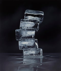 IMPERMANENCE #1, black and white, stack of ice cubes, photo-realism, still life