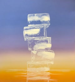 OBELISK, SUNRISE, stack of ice cubes, photo-realism, still-life, horizon, orange