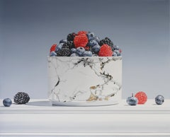 MOSAIC, photo-realism, still-life, marble, fruit in bowl, red, blue, white