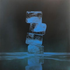 RISE AND FALL #5, light blue backdrop, hyper-realism, reflection, stack of ice