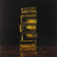 HOW FRAGILE WE ARE GOLD, ice cubes, photo-realism, dark, gold, black, still life